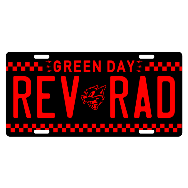 Custom black and red Rev Rad License plate.
