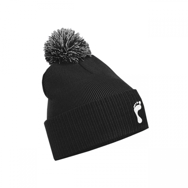 Footprint Black Bobble Hat