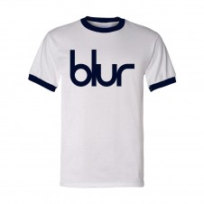 Blur Logo Ringer T-Shirt White and Blue