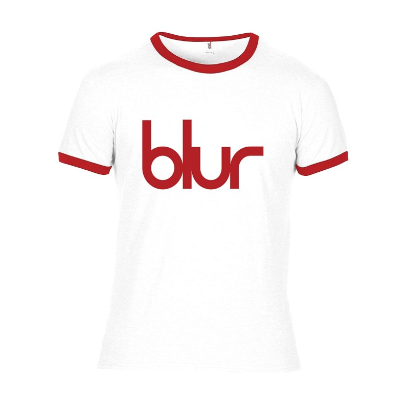 Blur Logo Ringer T-Shirt White and Red