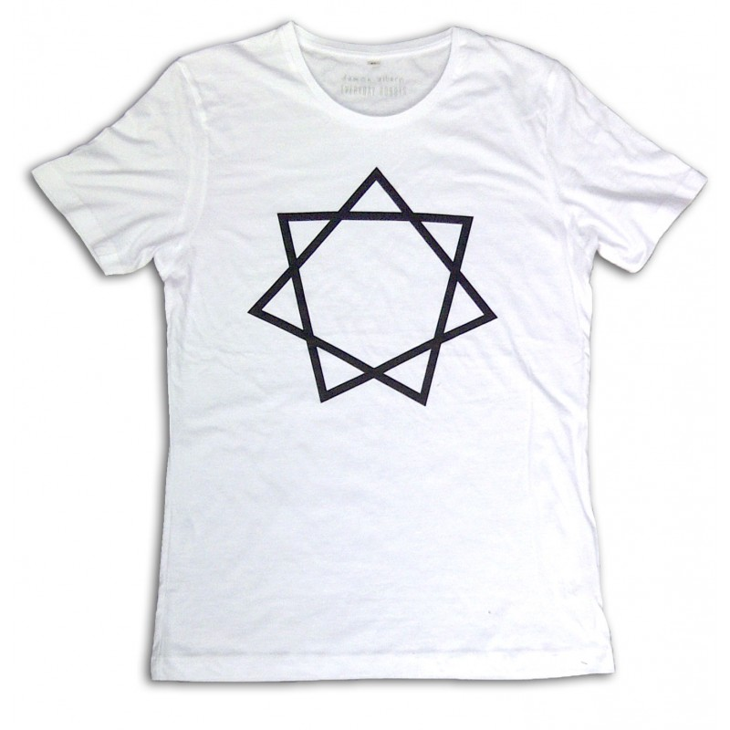 Heptagram Mens White T-shirt