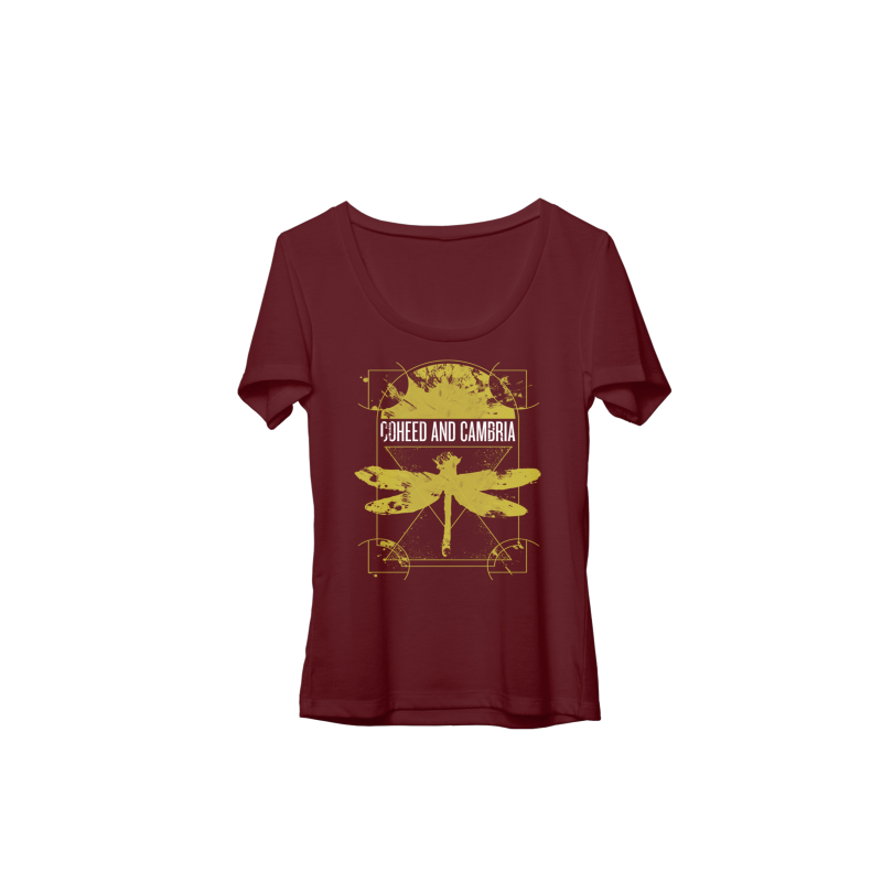 Coheed and Cambria Dissect Juniors Ladies T- Shirt Burgundy