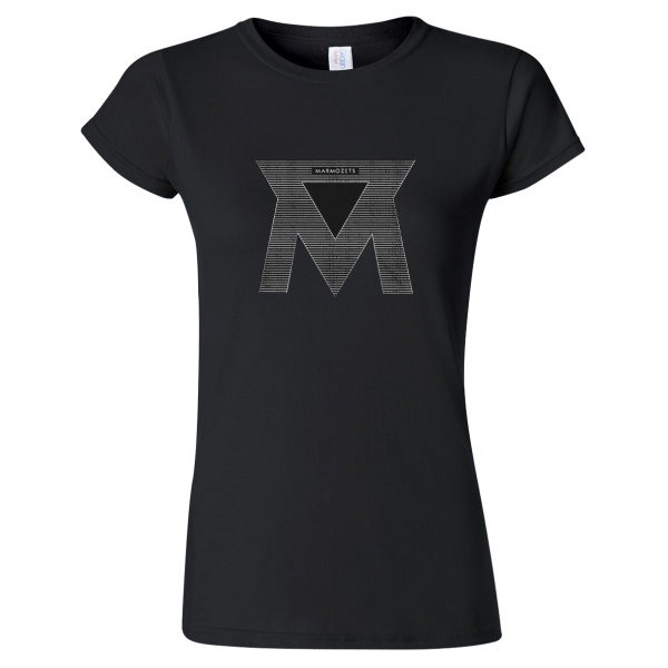 Black Lined M Womens T-Shirt