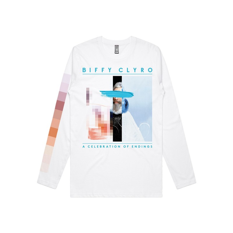 A Celebrations of Endings Pixel Long Sleeve T-shirt White