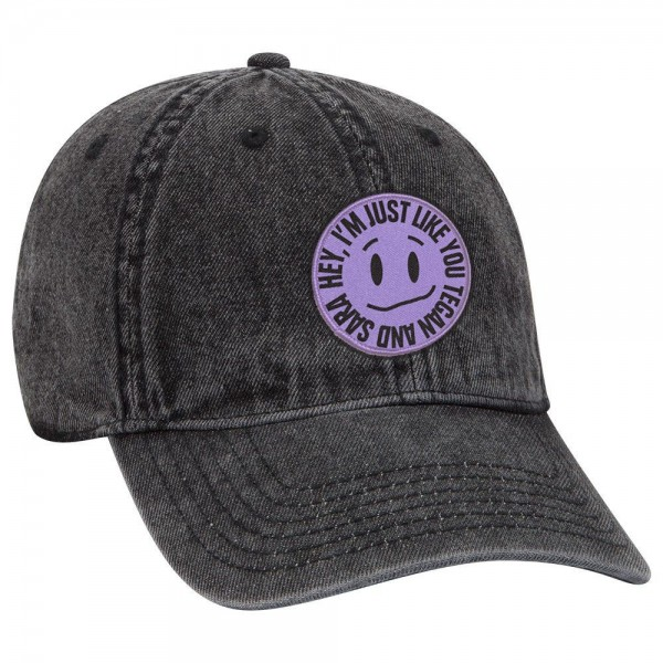 Hey, I'm Just Like You Kinda Smiley Denim Cap