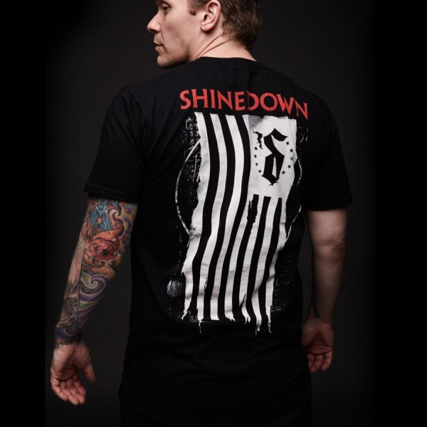 Shinedown Shredded Flag Pocket T-Shirt