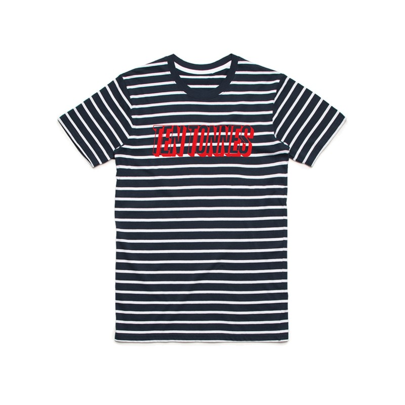 Ten Tonnes Red Logo Stripped T-shirt