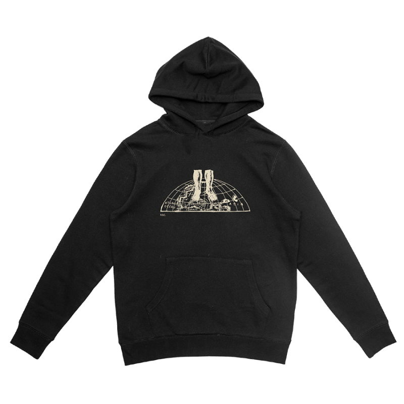 World Graphic Black Hoodie