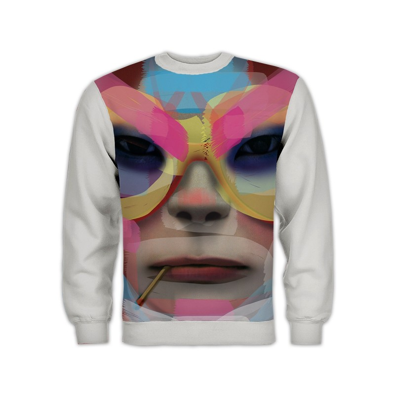 Noodle All Over Face Sweatshirt White
