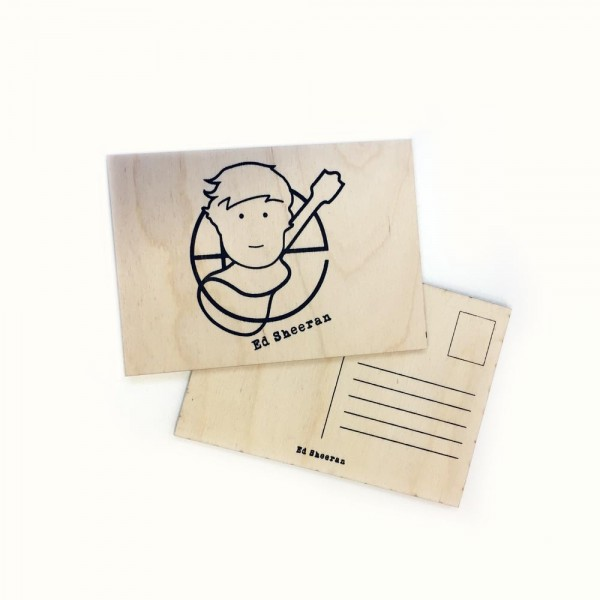 Ed Sheeran - Pictogram Wooden Postcard