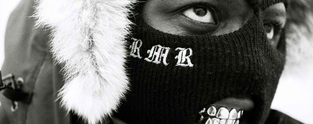 RMR in a balaclava and gold grillz