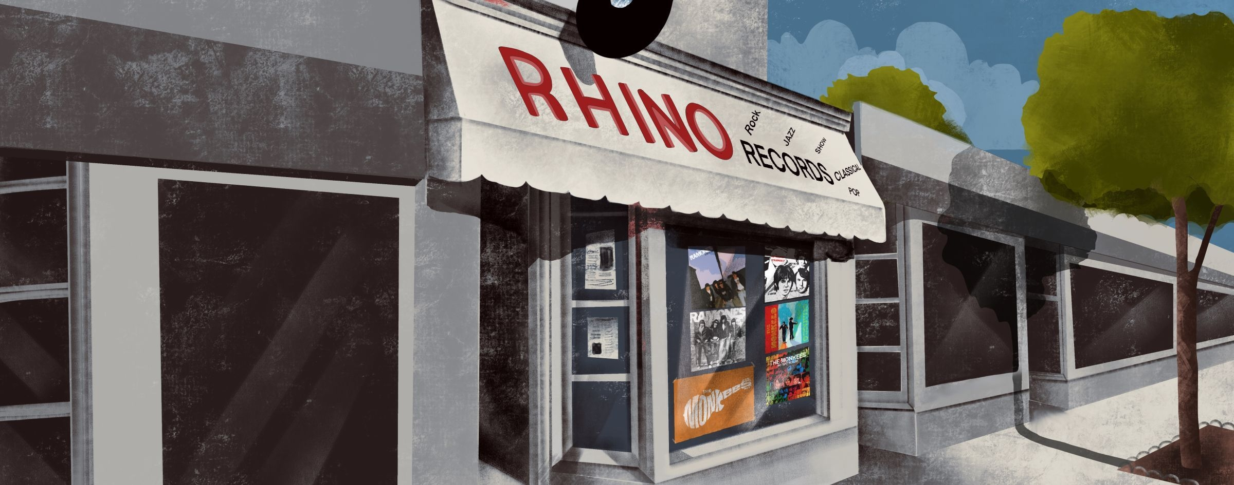 Illustration of the original Rhino shop in Los Angeles
