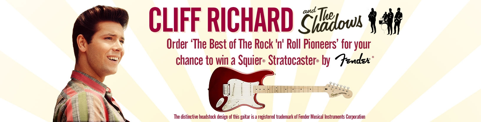 Cliff Richard and the Shadows - Order the best of the Rock 'n' Roll pioneers for your chance to win a Squier Stratocaster by Fender